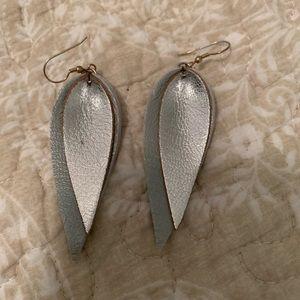 Magnolia market silver leather earrings